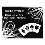 Invitaciones negras del personalizado del remolino comunicado personal