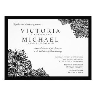 Invitaciones negras formales del boda del cuadrado anuncios personalizados
