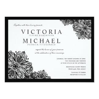 """Invitaciones negras formales del boda del cuadrado invitación 5.5"""" x 7.5"""""""