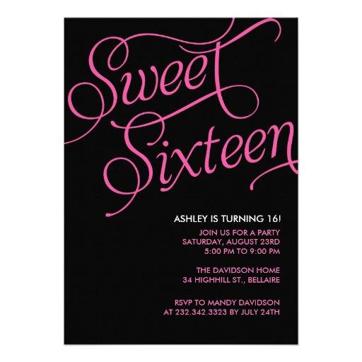 Invitaciones negras formales del dulce 16 comunicado personal