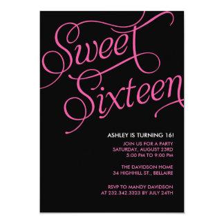 Invitaciones negras formales del dulce 16 invitación 12,7 x 17,8 cm