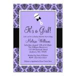Invitaciones negras púrpuras de la fiesta de anuncio personalizado