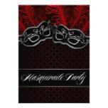Invitaciones negras rojas del fiesta de la bola de anuncio