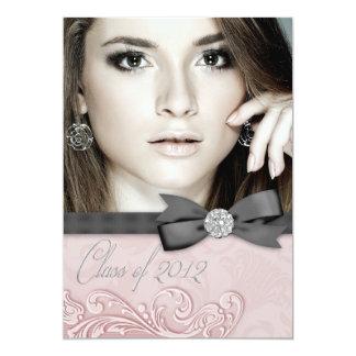 Invitaciones negras rosadas de la graduación de la invitación 12,7 x 17,8 cm