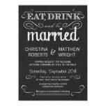 Invitaciones negras rústicas del boda del vintage invitación 11,4 x 15,8 cm