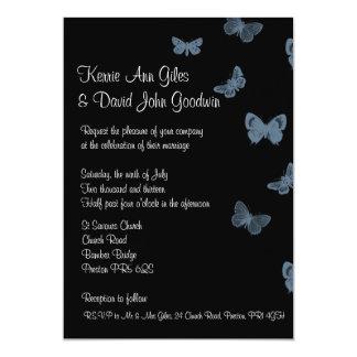 """Invitaciones negras y azules del boda de la invitación 5"""" x 7"""""""