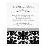 Invitaciones negras y blancas de la cena del ensay invitacion personalizada
