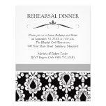 Invitaciones negras y blancas de la cena del ensay comunicados