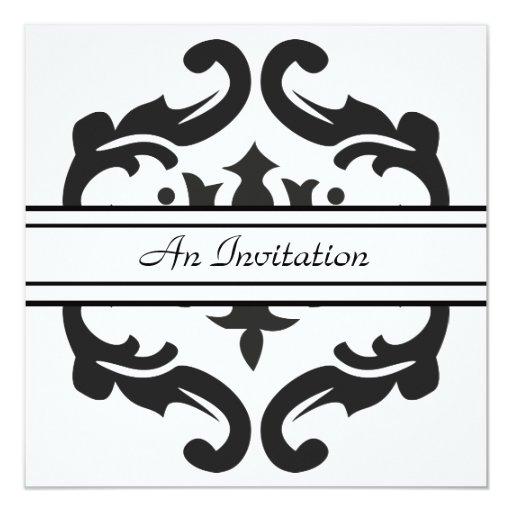 """Invitaciones negras y blancas elegantes del invitación 5.25"""" x 5.25"""""""