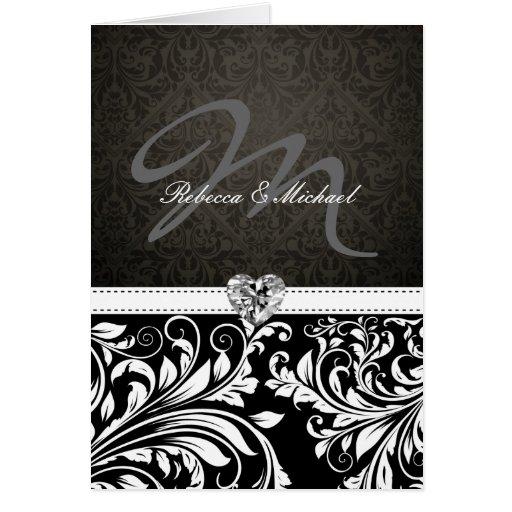 Invitaciones negras y blancas elegantes del monogr felicitación