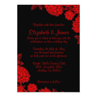 """Invitaciones negras y rojas elegantes del boda invitación 5"""" x 7"""""""