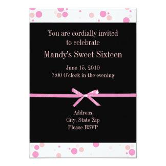 Invitaciones negras y rosadas del dulce dieciséis invitación 12,7 x 17,8 cm