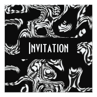 """Invitaciones negras y serpiente torcida estilo invitación 5.25"""" x 5.25"""""""