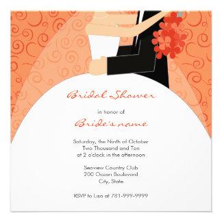 Invitaciones nupciales anaranjadas de la ducha anuncios personalizados