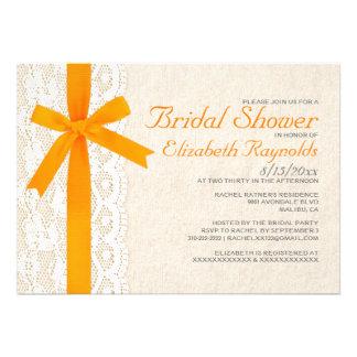 Invitaciones nupciales anaranjadas de la ducha del