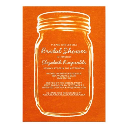 Invitaciones nupciales anaranjadas de la ducha del anuncios
