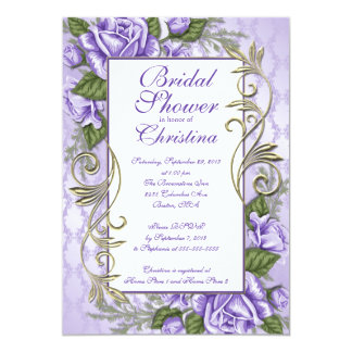 Invitaciones nupciales color de rosa púrpuras invitación 12,7 x 17,8 cm