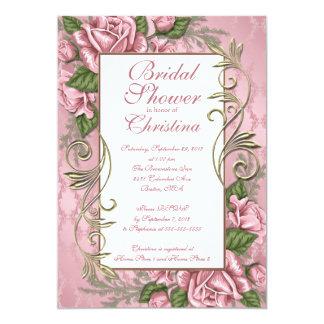 Invitaciones nupciales color de rosa rosadas invitación 12,7 x 17,8 cm