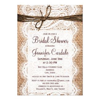 Invitaciones nupciales de la ducha de la arpillera