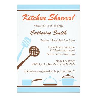 Invitaciones nupciales de la ducha de la cocina comunicado personal