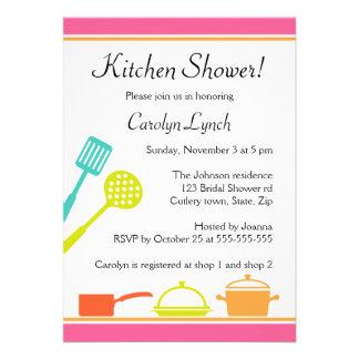 Invitaciones nupciales de la ducha de la cocina co anuncio