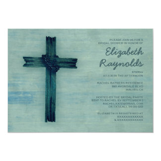 Invitaciones nupciales de la ducha de la cruz invitación 12,7 x 17,8 cm