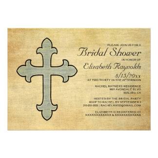 Invitaciones nupciales de la ducha de la cruz del