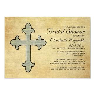 Invitaciones nupciales de la ducha de la cruz del invitación 12,7 x 17,8 cm