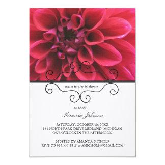 Invitaciones nupciales de la ducha de la dalia invitación 12,7 x 17,8 cm