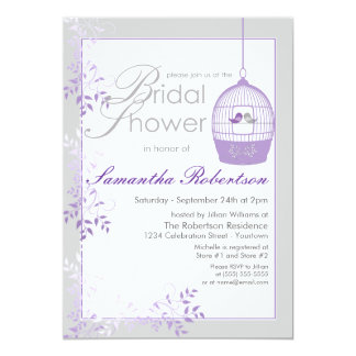 Invitaciones nupciales de la ducha de la lila de invitación 12,7 x 17,8 cm
