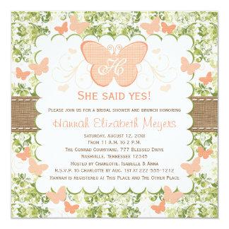 """Invitaciones nupciales de la ducha de la mariposa invitación 5.25"""" x 5.25"""""""
