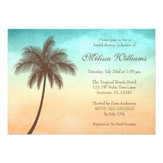 Invitaciones nupciales de la ducha de la palmera t