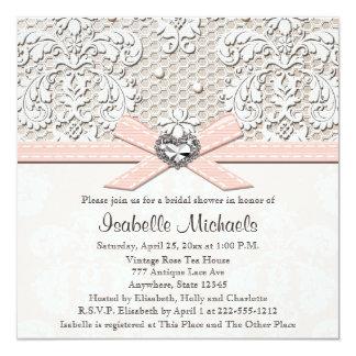 Invitaciones nupciales de la ducha de la perla del invitación personalizada