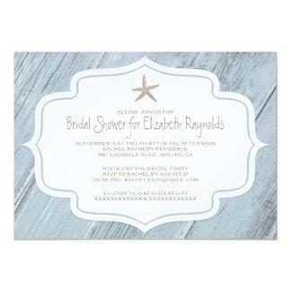 Invitaciones nupciales de la ducha de la playa comunicado personalizado