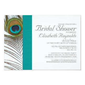 Invitaciones nupciales de la ducha de la pluma invitación 12,7 x 17,8 cm