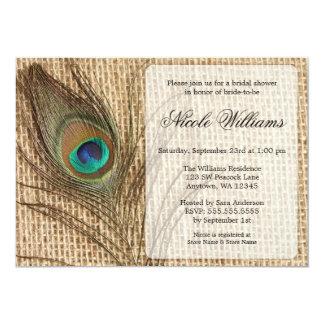 Invitaciones nupciales de la ducha de la pluma del invitación 12,7 x 17,8 cm