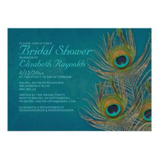Invitaciones nupciales de la ducha de la pluma del anuncios personalizados