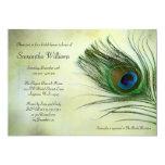 Invitaciones nupciales de la ducha de la pluma del invitaciones personales