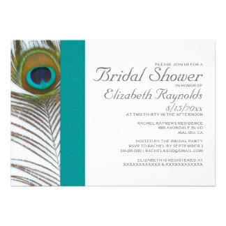 Invitaciones nupciales de la ducha de la pluma ele anuncios personalizados