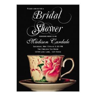 Invitaciones nupciales de la ducha de la taza de t invitacion personal
