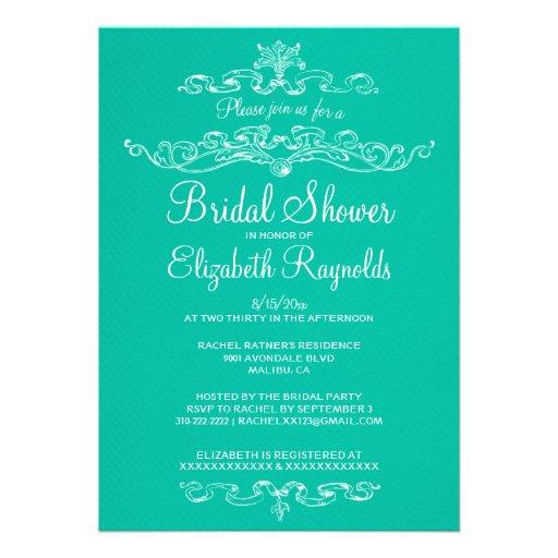 Invitaciones nupciales de la ducha de la turquesa  invitacion personalizada