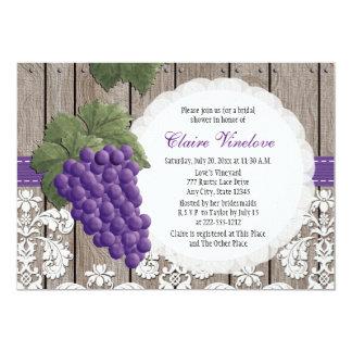 Invitaciones nupciales de la ducha de la uva invitación 12,7 x 17,8 cm