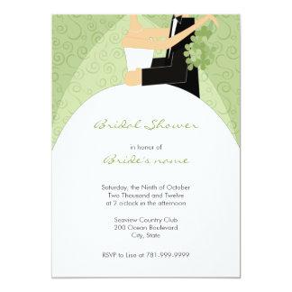 Invitaciones nupciales de la ducha de la verde invitacion personal