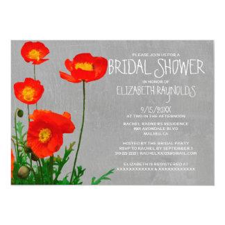 Invitaciones nupciales de la ducha de las amapolas invitación 12,7 x 17,8 cm