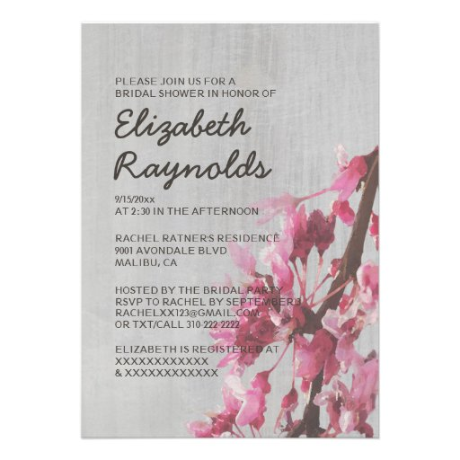 Invitaciones nupciales de la ducha de las flores d comunicados