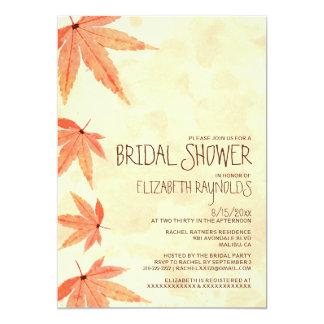 Invitaciones nupciales de la ducha de las hojas invitación 12,7 x 17,8 cm