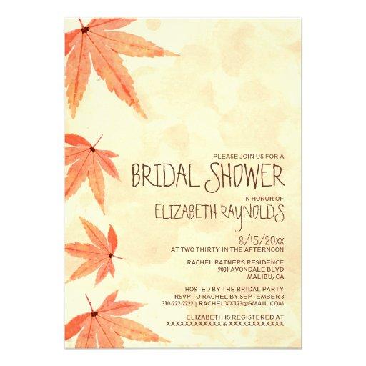 Invitaciones nupciales de la ducha de las hojas qu anuncio