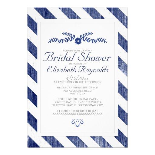 Invitaciones nupciales de la ducha de las rayas de invitacion personal