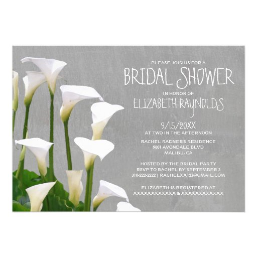 Invitaciones nupciales de la ducha de Lillies de l Anuncio