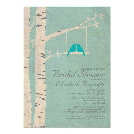 Invitaciones nupciales de la ducha de los pájaros  comunicados personalizados
